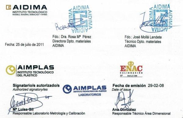 Certificados AIDIMA AIMPLAS y ENAC de Syan Platos Extraplanos