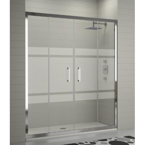 Mampara de ducha Kassandra TR100 2 fijos y 2 puertas correderas