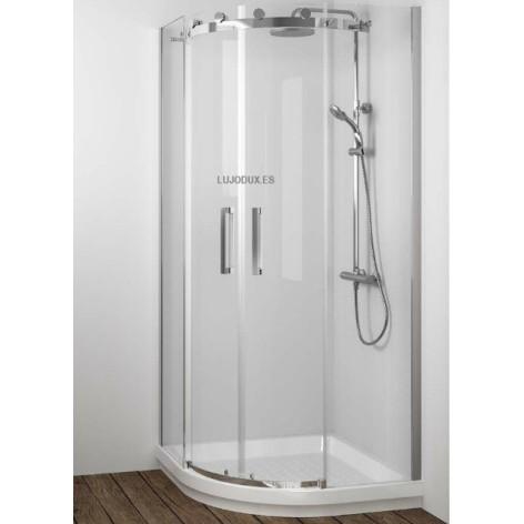 Mampara de ducha semicircular Liberty Ll130 2 fijos y 2 puertas correderas Transparente