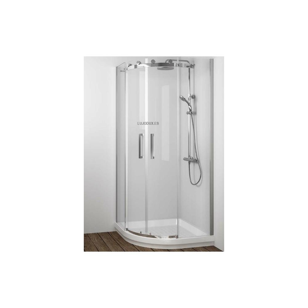 Mampara de ducha semicircular Liberty 02 fijos y 02 puertas correderas Transparente