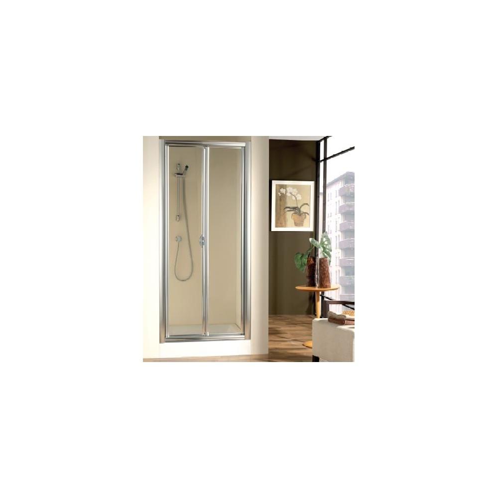 Mampara de ducha doccia burdeos frontal con 02 hojas plegables - Mamparas de ducha plegables ...