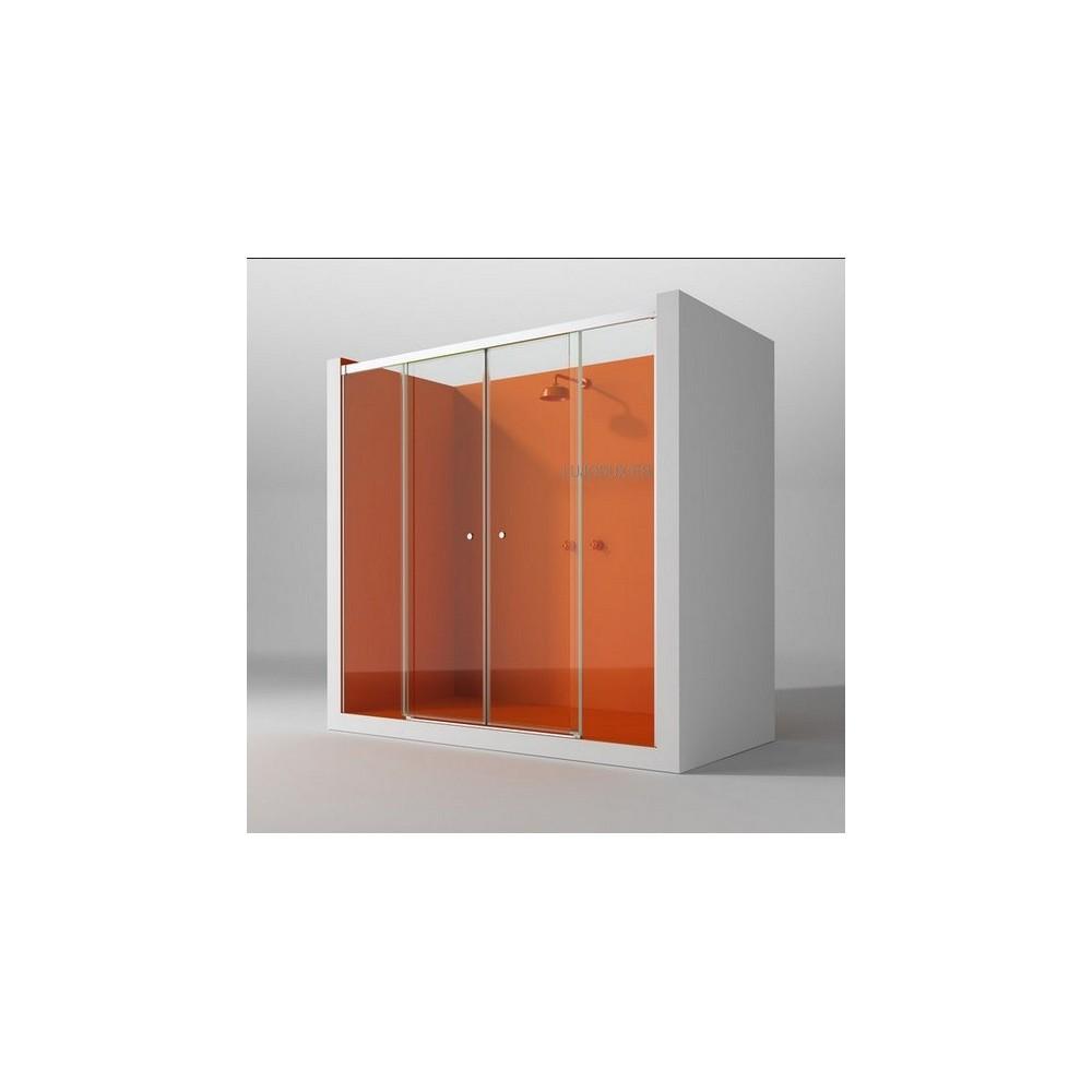 Mampara de ducha Kora Dominica 02 fijos y 02 puertas correderas entrada central Transparente