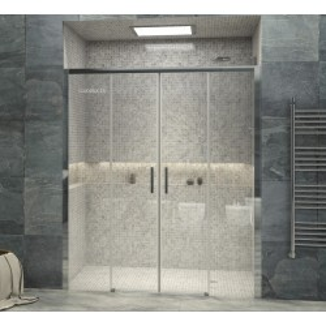 Mampara de ducha Frontal Iris 4 dos fijos y dos puertas correderas Transparente