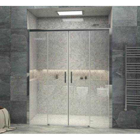 Mampara de ducha Frontal VR4 dos fijos y dos puertas correderas Transparente