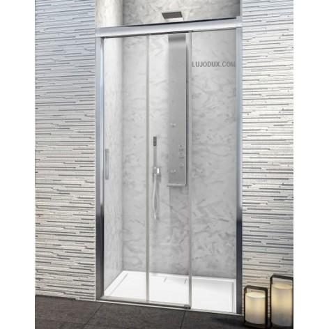 Mampara de ducha TDT1 un fijo y dos puertas correderas  Transparente
