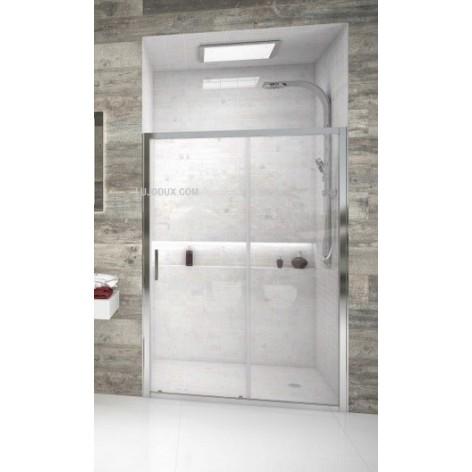 Mampara de ducha Frontal Dida 1 una puerta corredera y un fijo.