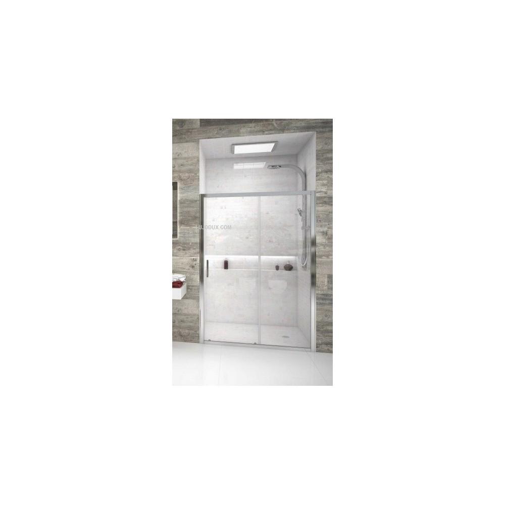 Mampara de ducha VD1 una puerta corredera y un fijo Transparente