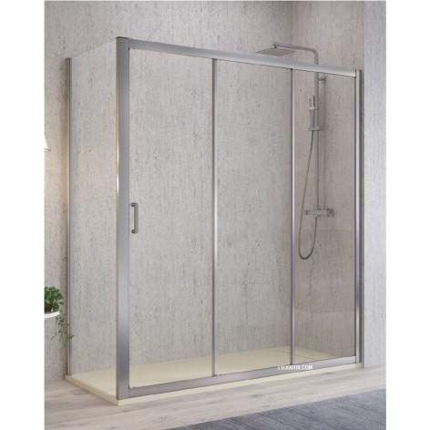 Mampara de ducha Diana 1 fijo más 2 puertas correderas y lateral fijo
