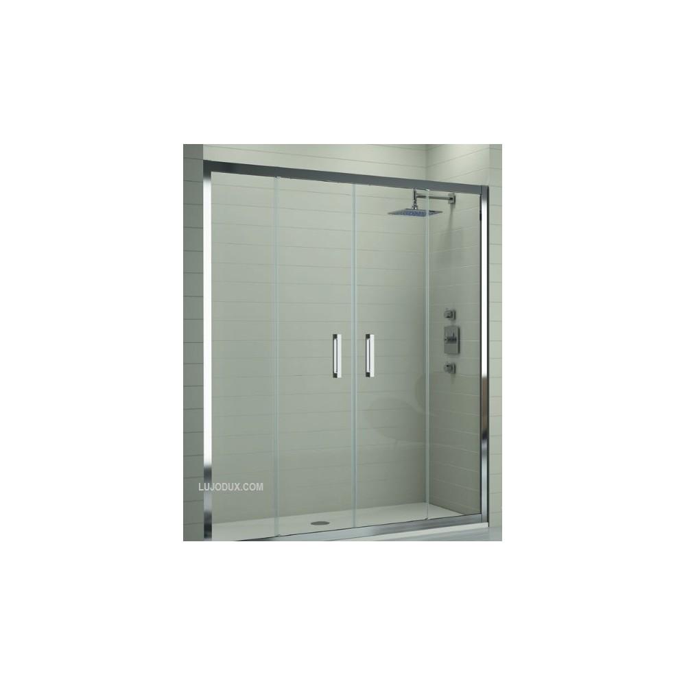 Mampara de ducha TR100 Frontal  2 fijos y 2 puertas correderas Transparente