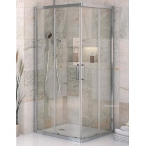 Mampara de ducha VD 2 angular 02 fijos y 02 puertas correderas Transparente