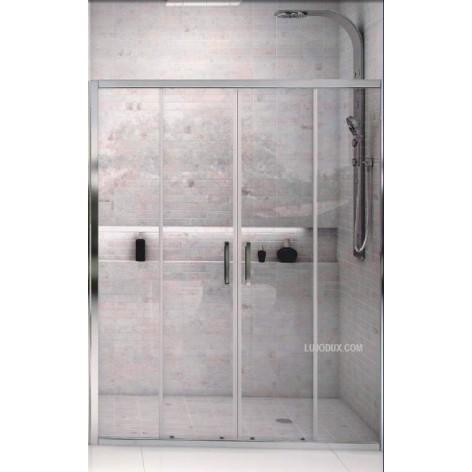 Mampara de ducha VD4 dos fijos y dos puertas correderas Transparente