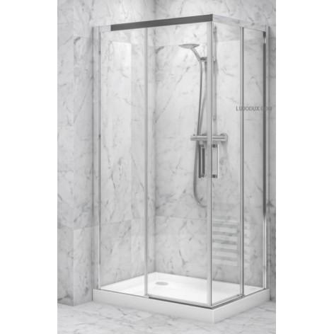 Mampara de ducha VR2 angular 02 fijos y 02 puertas correderas