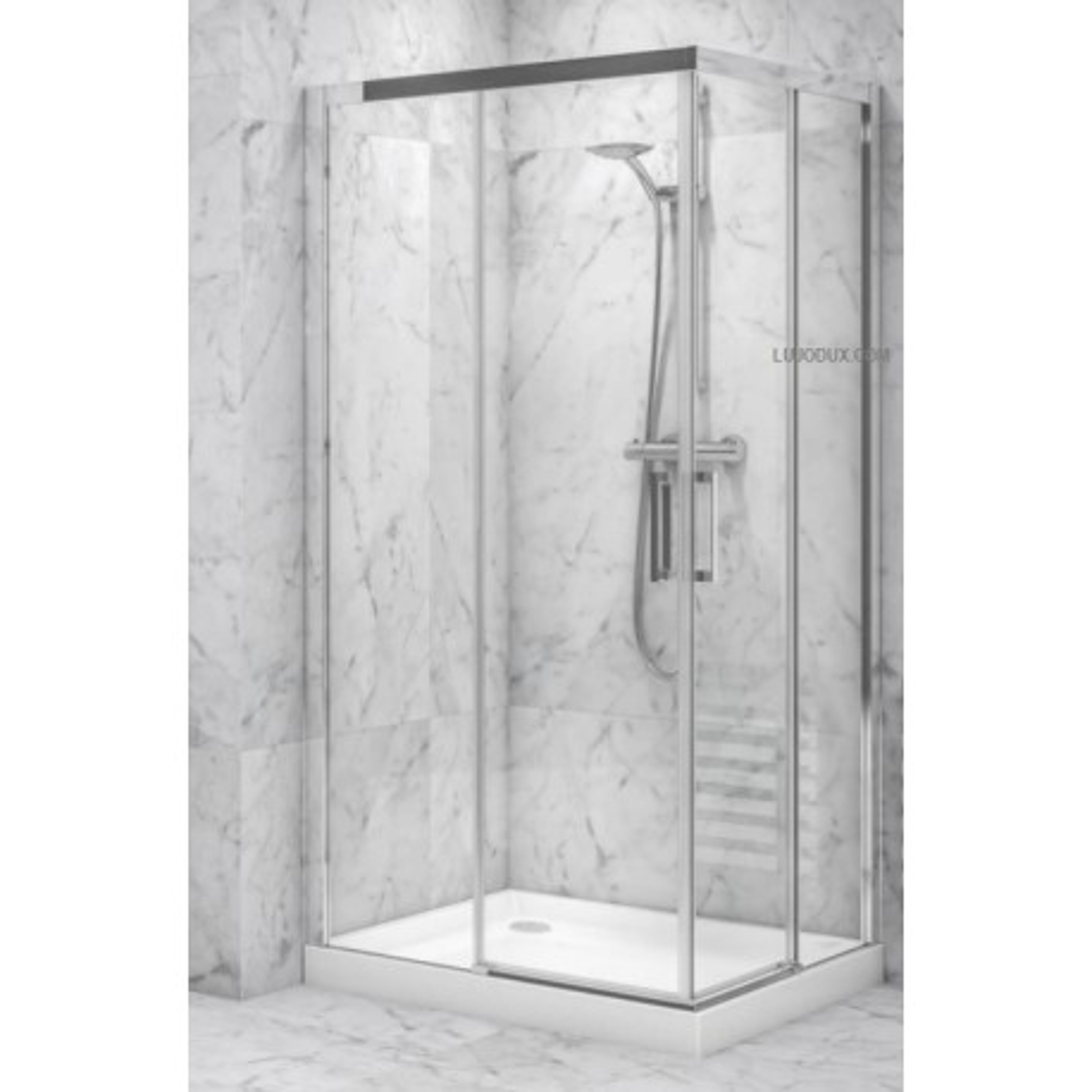 Mampara de ducha VR2 angular 02 fijos y 02 puertas correderas Transparente