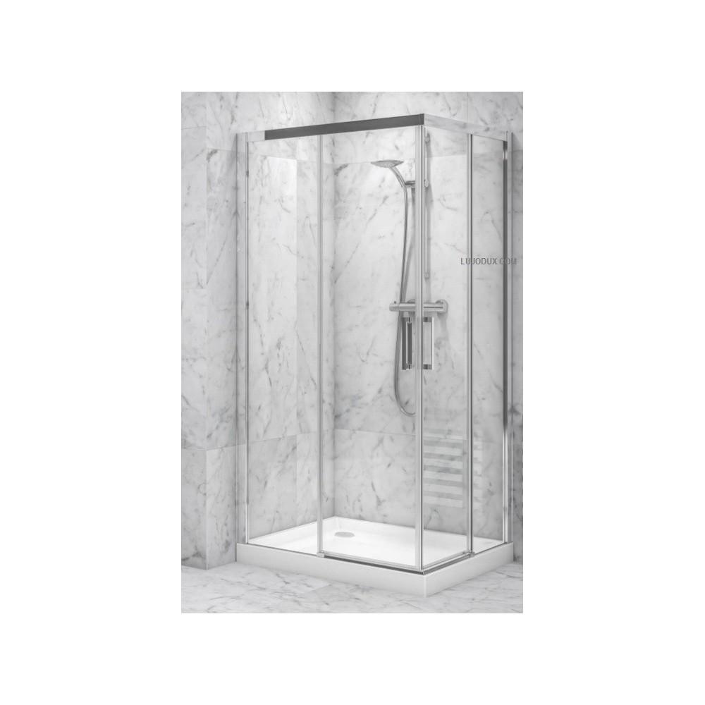 Mampara de ducha VR2 angular 2 fijos y 2 puertas correderas Transparente
