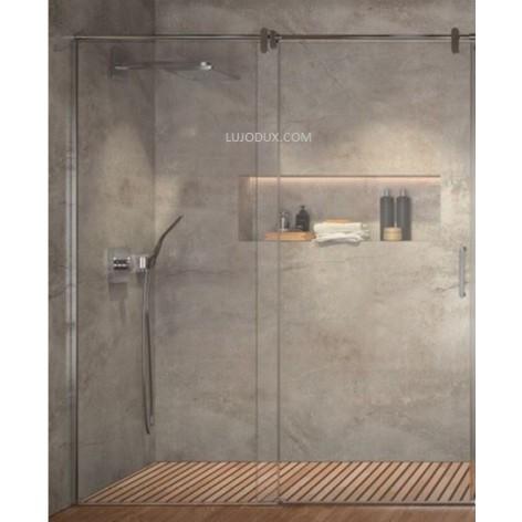 Mampara de ducha Slim Acero LM102 1 Fijo y 1 Puerta corredera Transparente