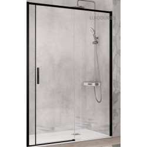 Mampara de ducha Masela Negro Mate 1 Fijo y 1 puerta corredera Transparente