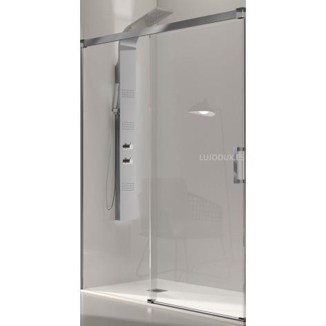 Mampara de ducha Glasé 1 fijo y 1 puerta corredera Perfil Plata alto brillo Transparente