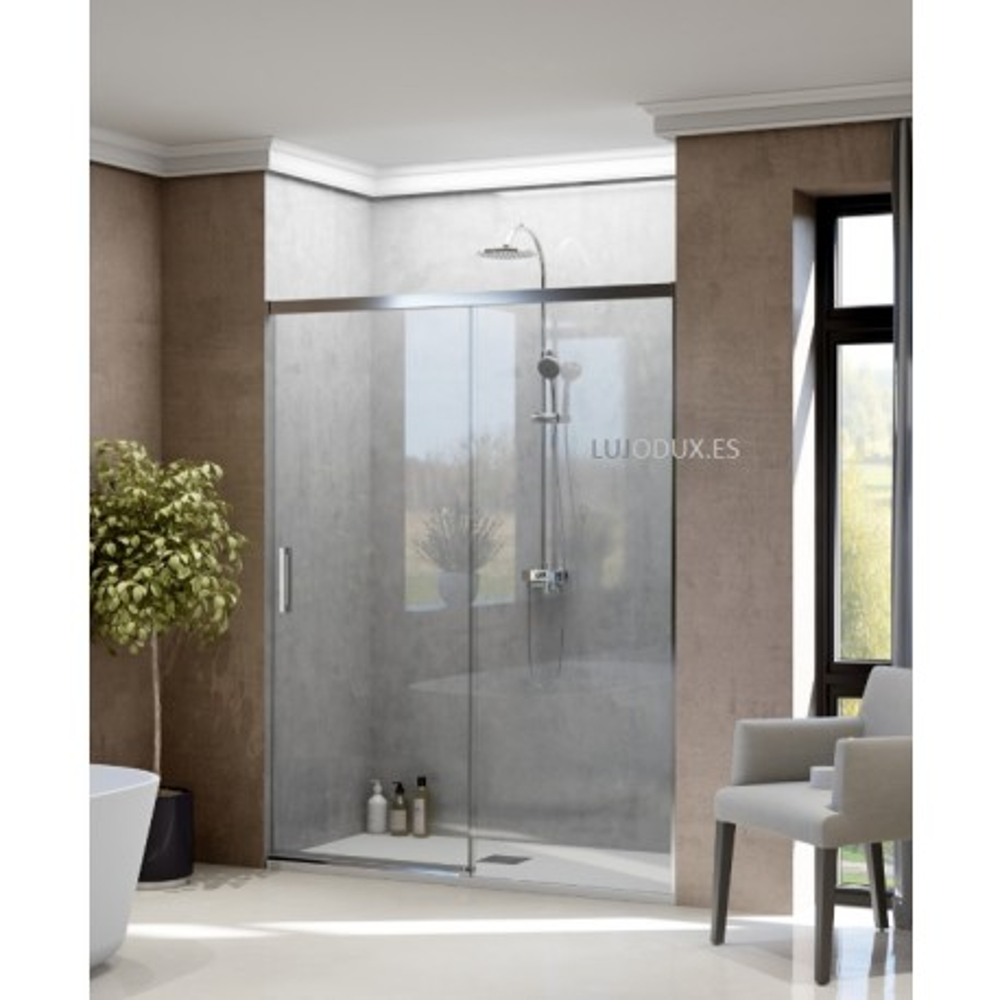 Mampara de ducha PLS 1 hoja fija y 1 puerta corredera Transparente Perfil Plata Brillo