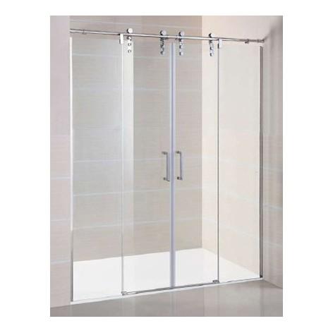 Mampara de ducha Moving Spazio 2 fijos y 2 hojas correderas Transparente