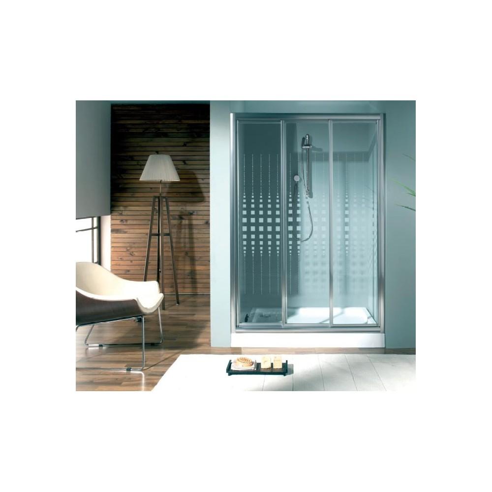 Mampara de ducha Doccia Adelaida 3 puertas correderas perfil plata brillo y decorado