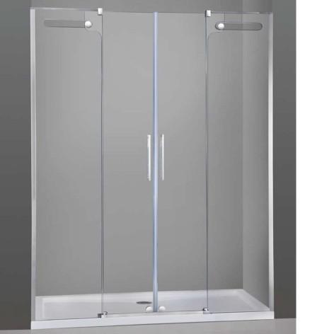 Mampara de ducha Vetrum Inox Spazio 2 fijos y 2 puertas correderas