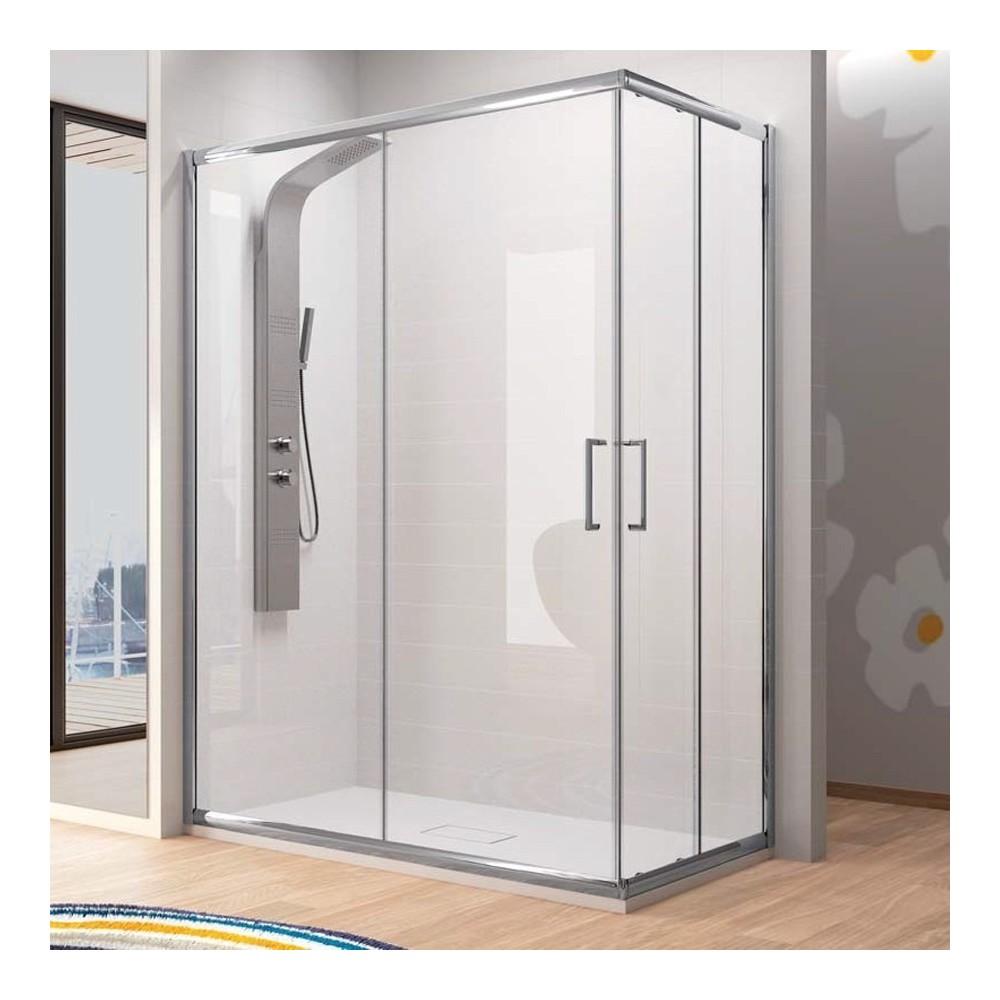 Mampara de ducha Bella angular 02 fijos y 02 puertas correderas  Transparente