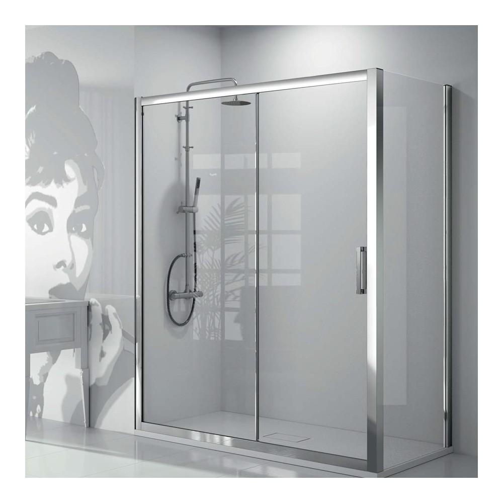 Mampara de ducha kassandra Serie 300 (TR102+TR103) 1 fijo y 1 puerta corredera con lateral fijo Transparente