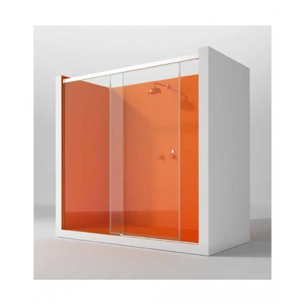 Mampara de ducha Kora Bahamas 01hoja fija y 01 puerta corredera perfil mate y cristal transparente