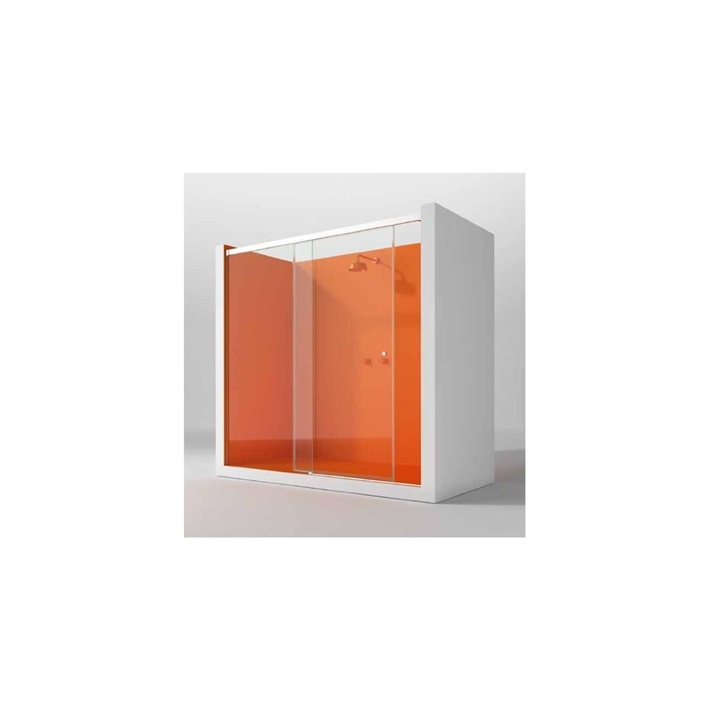 Mampara de ducha KB 1 hoja fija y 1 puerta corredera perfil mate y cristal transparente