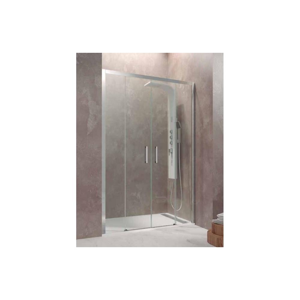 Mampara de ducha Aktual Spazio 02 fijos y 02 correderas Transparente  SIN GUIA INFERIOR